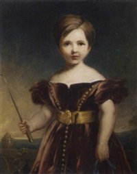 portrait of a girl in a burgundy velvet dress, holding a crop and blue ribbon, a landscape beyond by james godsell middleton