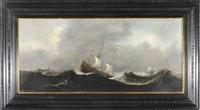 statki na wzburzonym morzu by aert van antum