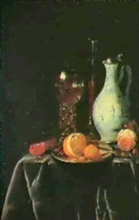 nature morte au verre rohmer et a la rose; nature morte a  l'orange et a la miche de pain sur un plat d'etain by hendrick loffler