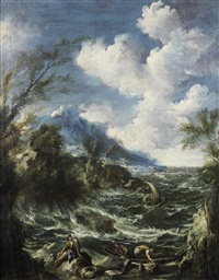 figures working at the shore of a rough sea landscape by antonio francesco peruzzini & alessandro magnasco