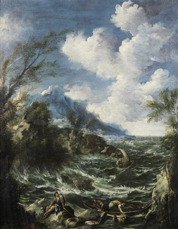 figures working at the shore of a rough sea landscape by antonio francesco peruzzini alessandro magnasco