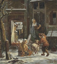 a snowy outdoor courtyard with children playing on a goat-drawn sleigh by abraham van stry the elder