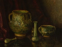 still life with pottery and glass by bernardus arps