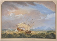 east indiaman outward bound from cape town, with table mountain beyond by charles meryon