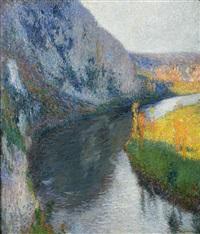 la vallée du lot à l'aplomb de saint-cirq-lapopie by henri etienne-martin