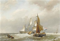 a dutch merchantman and barges in a stiffening breeze by hermanus willem koekkoek