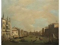 the grand canal, venice, looking north-east from the palazzo balbi to the rialto bridge by canaletto