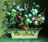 nature morte au bouquet de fleurs dans une tôle peinte au décor chinois by louis tessier