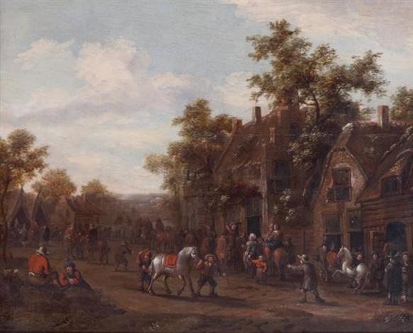 village flamand animé de nombreux personnages by salomon rombouts