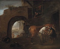 a blacksmith on the outskirts of a city wall, an italianate river landscape beyond the archway by hendrick verschuring