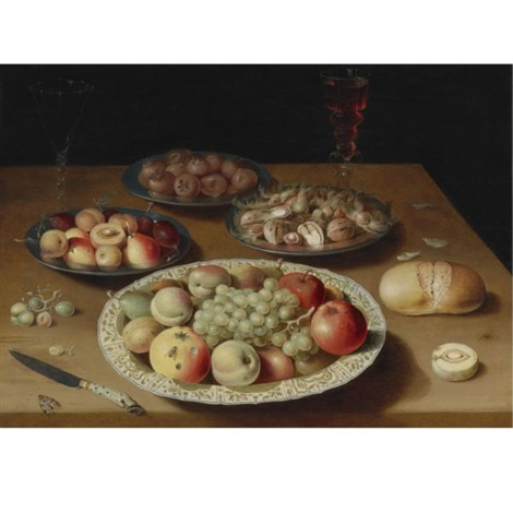 still life on a plain wooden table a large wanli porcelain dish of fruit a pewter dish of fruit medlars and nuts a moth two venetian style glasses of wine one white and the other red by osias beert the elder