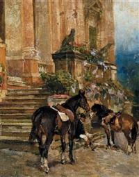 fantino e cavalli in prossimità di una scalinata by alfredo vaccari