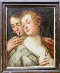 le goût, l'odorat, la vue, l'ouïes (4 works) by cornelis cornelisz van haarlem