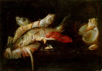 a skate, salmon steak, mussels and other fish on a ledge by isaac van duynen