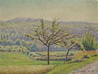 prairies et forêt à georgenborn by gustave camille gaston cariot