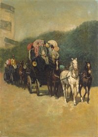 stagecoach ride in the park by james carroll beckwith