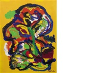figures in yellow background no.9 by karel appel