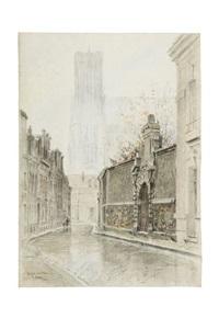 une vue de la cathédrale de reims, vue de la rue d'anjou by charles samson