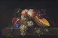 a melon, peach, plum, pommegranate and grapes on a stone ledge by pieter gallis