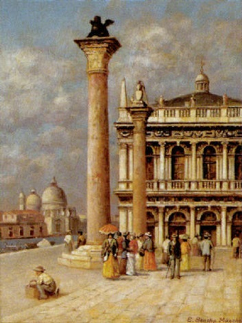 die piazzetta in venedig mit blick auf die libreria vechia by ernst stache