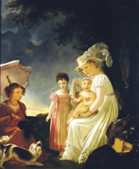 ladies with children and dog resting under a tree by marguerite gérard