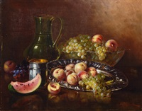 still life with peaches and grapes by a. rauter-redtwitz
