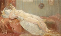 reclining nude by huib (huber marie) luns
