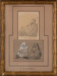 l'aghmat guerrier assis et deux hommes assis, (2 works) by eugène fromentin
