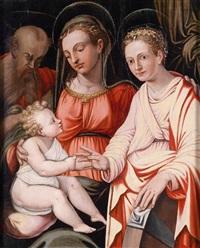 madonna mit kind, dem heiligen joseph und der heiligen katharina by giorgio vasari