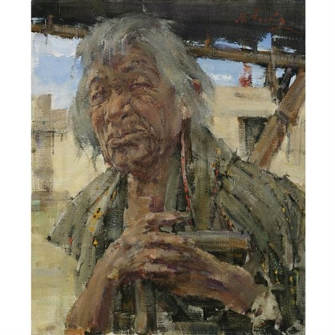 Indian grandfather by nicolai fechin on artnet for Nicolai fechin paintings for sale