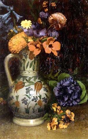 fleurs dans un vase au décor d'iznik by louis joseph anthonissen