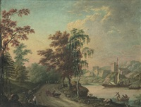 landskap med stad, fartyg och figurer by lorens (lars) gottman