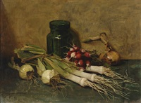 still life with leek and radish by johannes evert akkeringa