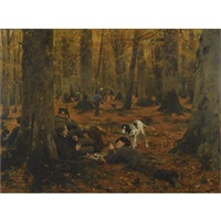 rast auf der jagd-hunters at rest by wilhelm simmler