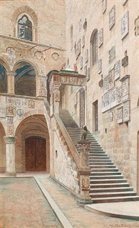 the inner courtyard of the bargello, florence by giuila cecchi