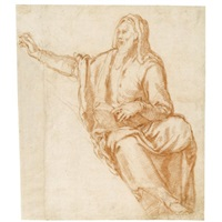 design for a lunette: a prophet (+ sketch of a figure; verso) by agostino ciampelli