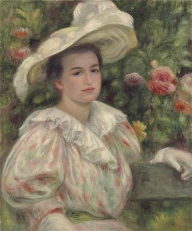jeune fille dans les fleurs or femme au chapeau blanc by pierre auguste renoir