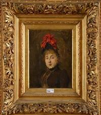 portrait d'une élégante au chapeau by jean de la hoese