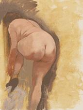 weiblicher akt, strümpfe ausziehend (nude, undressing) (+ stehender akt und akt, strümpfe ausziehend, studie zur vorderseite, charcoal, verso) by george grosz