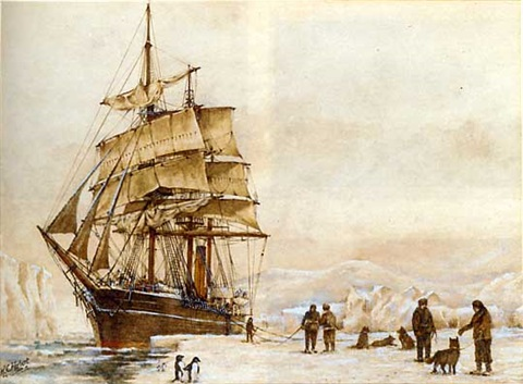 an antarctic expedition landing and unloading stores into the ice 2 works by rc herbert