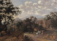 an italianate mountainous landscape with horsemen entering a village by pieter cosyn