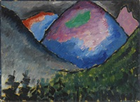 bunter berg im tal bei oberstdorf (coloured mountain in the valley near oberstdorf) by alexej jawlensky