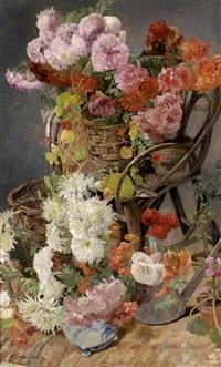 großes, dekoratives blumenstillleben by gustave jeanneret