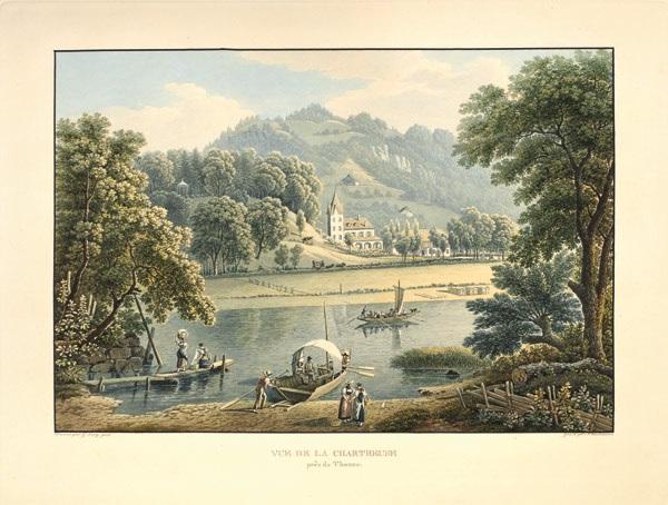 vue de la chartreuseprès de thoune engraved by j hürlimann by gabriel ludwig lory