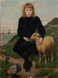 fillette et son mouton dans les dunes by jan-baptist lesaffre