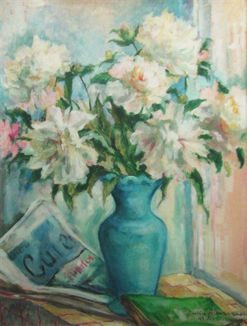 peonies in blue vase by dudu alexandrescu milcoveanu