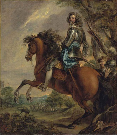 equestrian portrait of albert duc darenberg prince of barbonçon 1600 1674 in armour with a blue sash in a wooded landscape by thomas gainsborough