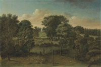 studley royal, yorkshire: an extensive view of the park with the octagon tower in the distance by balthasar nebot