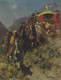 a caravan on a mountain pass by alberto pasini