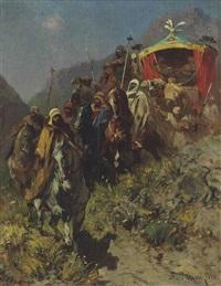 a caravan on a mountain pass by alberto pasini